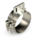 """Chromed Stainless Clamp, 8""""  Diameter, UNIVERSAL  Application, With Straight Bracket"""