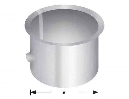 "Aluminized Coupler, 5""  Diameter, UNIVERSAL  Application, 5"" FLARED CONNECTOR WITH THERMOMETER FITTING"