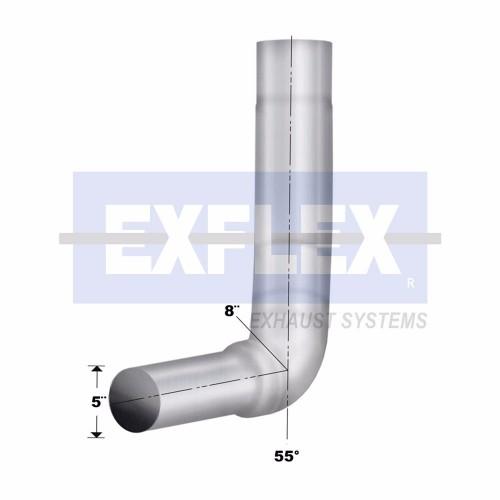 "Chromed Elbow, 6"" Diameter, KW W900 2003-2006 Application, 5"" OD, 40"" Length, Box Rigth"