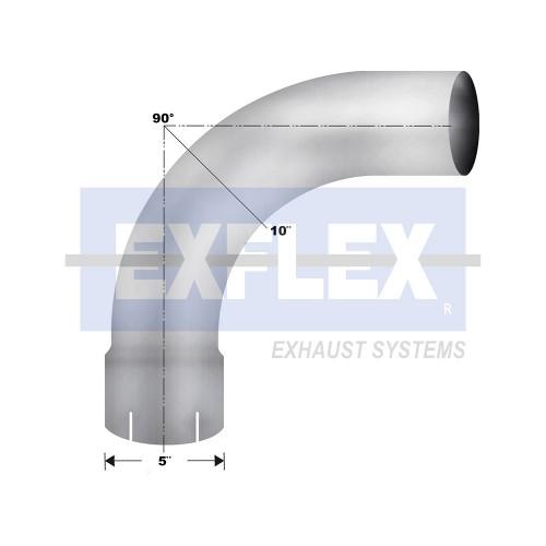 "Aluminized Elbow, 5""  Diameter, UNIVERSAL 90° Radius 10 Application, 5"" ID X 5"" OD 18"" X 18"" Length"