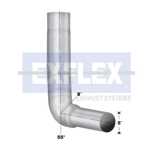 """Chromed Elbow, 6"""" Diameter, KW W900L 2003-2006 Application, 5"""" OD, 40"""" Length, Box Left"""