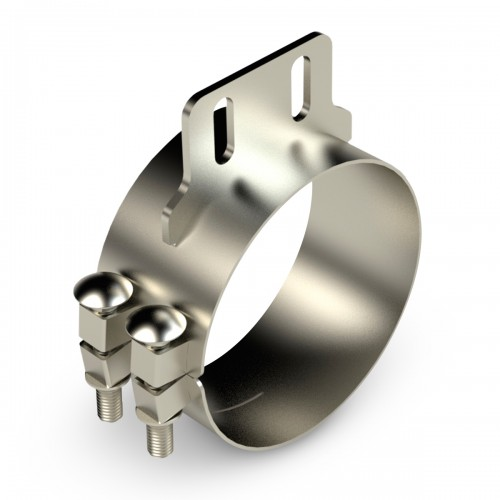"""Chromed Stainless Clamp, 6""""  Diameter, UNIVERSAL  Application, With Straight Bracket"""